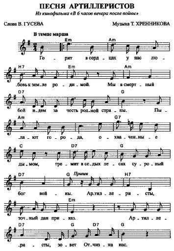 Ноты на гитару популярных песен